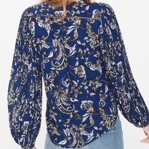 WHBM Floral Pleated Sleeve Surplice Blouse Blue 8